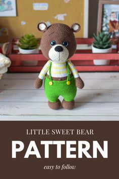 """This pattern is available in English. It consists of 22 pages of the detailed description in the pdf format and contains more than 60 quality photos. This crochet pattern doesn't contain the crocheting lessons. Yoy should have the basic crochet skills. Skill level - easy/beginners. The size of finished toy is approx. 22 cm = 8,7"""". The arms are movable (thread fastening)."""