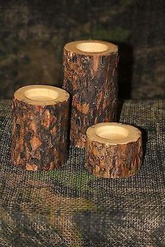 Rustic Log With Bark Candle Holders - Country, Log Cabin, Lodge, Western Decor - Shipping Is $9.00 for each set