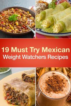 19 Must Try Mexican Weight Watchers Recipes including Mexican Skillet, Chicken Enchiladas, Tex Mex Stuffed Sweet Potatoes, Chicken Taco Salad, Salsa Dip, Quesadilla's, Chimichangas, Mexican Stuffed Shells, Baked Tacos, Nacho Beef Bake, Taco Soup, Mexican Rice, and more!