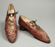 Silk Brocade Slippers with Leather Laces, ca. 1914-17Hook, Knowles & Company, Ltd.via LACMA