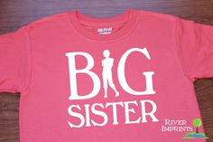 Youth BIG SISTER, girl sister announcement t-shirt