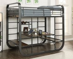 Shop for Furniture of America Ulsa Contemporary Grey Full/Full Metal Loft Bed. Get free delivery On EVERYTHING* Overstock - Your Online Furniture Outlet Store! Bunk Bed With Desk, Bunk Beds With Stairs, Kids Bunk Beds, Loft Beds, Murphy Bed Ikea, Murphy Bed Plans, Murphy Bunk Beds, Metal Bunk Beds, Bunk Bed Designs