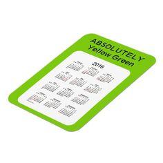 2016 Calendar ABSOLUTELY Yellow Green 3x4 Magnet
