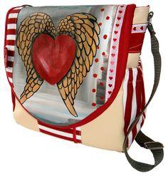 Bei deiner Tasche *Flying heart* von *leolini* sind dir die Blicke gewiss!    Bei *Flying heart* handelt es sich um ein 100% handgefertigtes Unikat...