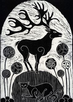 Art greeting card - Stag on Celtic Standing Stone Anne Hutchings. A fine art greeting card for animal and bird lovers. This is quality blank greeting card. Celtic Art, Celtic Symbols, Celtic Dragon, Stamp Printing, Medieval Art, Linocut Prints, Black And White Illustration, Celtic Designs, Art Festival