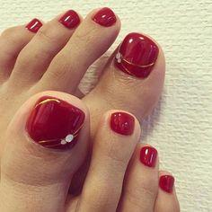 Installation of acrylic or gel nails - My Nails Toenail Art Designs, Pedicure Designs, Pedicure Nail Art, Pedicure Ideas, Red Pedicure, Pedicure Colors, Pretty Toe Nails, Cute Toe Nails, My Nails
