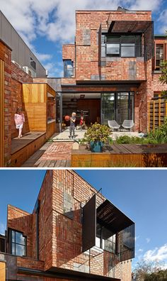 14 Modern Houses Made Of Brick // Bricks arranged in different directions create a patchwork design on the exterior of this family house.