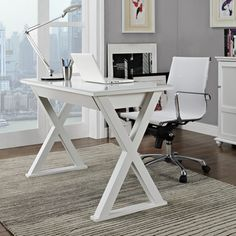Shop for 48 in. White Glass Metal Computer Desk. Get free shipping at  Overstock 34b43a12192