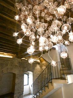Lámpara de techo de vidrio soplado CRISTAL - Metal Spot