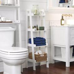 Bathroom Flooring, Bathroom Furniture, Bathroom Canvas, Wall Decor For Bathroom, Bathroom Cabinets, Room Decor, Bathroom Ladder Shelf, Narrow Bathroom Storage, Ladder Shelves