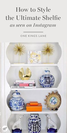 What do you need to style this beautiful bookshelf, full of gleaming gold and classic blue and white? Chic chinoiserie of course! Click here to shop all of our favorite new and antique Chinoiserie-inspired pieces from One Kings Lane!