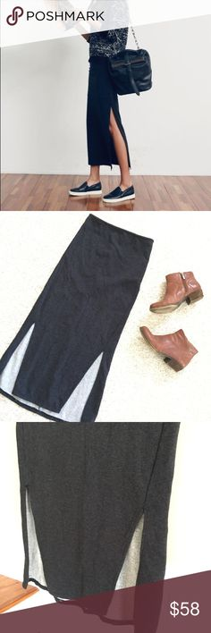 🆕{Listing} Free People Side Slit Skirt Free People Side Slit Skirt. Dark gray, slurs on both sides, full length, back zip. In very good condition. Perfect skirt for Fall and Winter!! Free People Skirts Maxi
