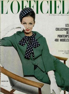 L'Officiel-March 1962  Model by:Christian Dior.French Fashion Magazine:L'Officiel,March 1962.