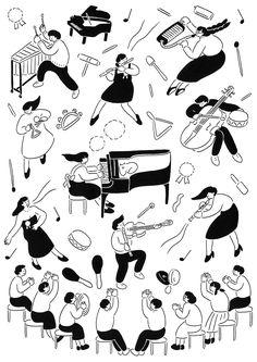 http://yu-fukagawa.tumblr.com/  선, 북적, 오밀조밀, 심플, 흑백, 악기