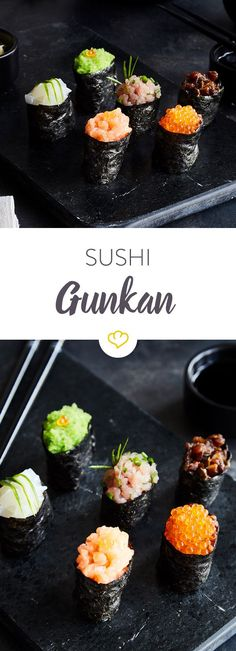 Sushi - gunkan maki , Gunkanmaki make a lot of things on your sushi platter. The small boats are loaded with the best ingredients. Let your creativity run wild. Japan Sushi, Sushi Co, Dessert Sushi, Sushi Recipes, Asian Recipes, Cooking Sushi, Sushi Platter, World Recipes, Recipes