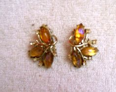 VIntage CORO Gold Tone, Topaz and Rhinestone Bouquet Earrings.  Free Shipping in 48 States. $20.00