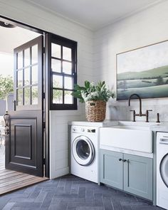Studio McGee laundry room with modern coastal laundry room with blue cabinets an. Studio McGee laundry room with modern coastal laundry room with blue cabinets and farmhouse sink and bronze faucet with . Grey Laundry Rooms, Mudroom Laundry Room, Laundry Room Cabinets, Farmhouse Laundry Room, Blue Cabinets, Farmhouse Cabinets, Farmhouse Faucet, Bathroom Laundry, Mud Rooms