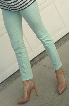 navy & orange: mint and stripes mint skinny jeans, silk stripes, mint statement necklace, louboutin pigalle