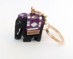 SMALL size Handmade THAILAND wooden ELEPHANT KEY-RING sparkly purple Thai Elephant, Wooden Elephant, Purple Glitter, Key Rings, Elephants, Thailand, Shelf, Personalized Items, Handmade