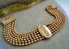 Vintage Victorian Revival 6 Row Ball Bead Wide Embossed Bracelet, Estate Lot