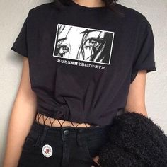 Unisex Are You Afraid Of The Dark Japanese T-Shirt Harajuku Style Aesthetic Anime Tee Hipsters Grunge Top Edgy Outfits, Mode Outfits, Cute Casual Outfits, Grunge Outfits, Girl Outfits, Aesthetic Grunge Outfit, Aesthetic T Shirts, Aesthetic Clothes, Aesthetic Anime