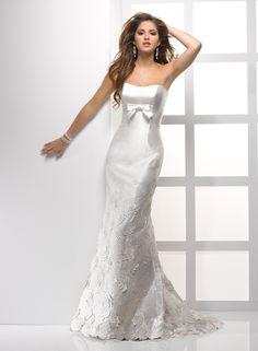 Soft Shimmer Satin A-line Scoop Neckline Wedding Dress