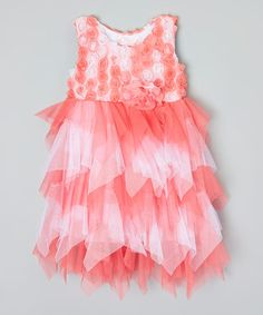 This Pink & White Rosette Tiered Dress - Infant, Toddler & Girls is perfect! #zulilyfinds