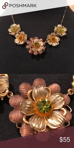 """Vintage Enameled Crystal Flower Necklace Vintage Jenny Enameled Crystal Flower Necklace. Approximately 16"""" long with 5 beautiful enameled and flowers with a crystal center. Jewelry Necklaces"""
