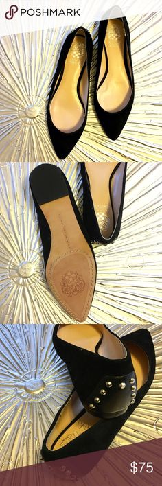 Vince Camuto Stud Flats Skip those painful high heels and opt instead for these stylish Vince Camuto flats!   Details: NWOT. Size 7.5. Retail $119. Black suede with with leather and silver studs along the heel.   Kate Harrington Boutique does not trade or negotiate price in the comment section. However, for most items we may consider reasonable offers.   Happy Poshing! Vince Camuto Shoes Flats & Loafers