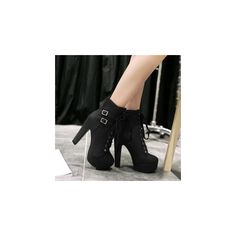Lace Up High Heel Boots (99 CAD) ❤ liked on Polyvore featuring shoes, boots, ankle booties, ankle boots, footware, platform booties, lace up booties, short brown boots, brown high heel boots and lace-up bootie