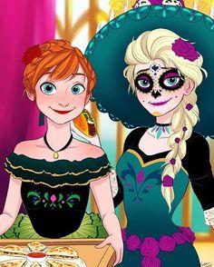 Anna Y Elsa, Frozen Elsa And Anna, Disney Frozen, Disney Magic, Frozen Halloween, Disney Halloween, Disney Fan Art, Disney Style, Frozen Songs