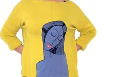 M-L artistic  by hand apply sweater in colour mustard yellow.Again procesed,recycled.