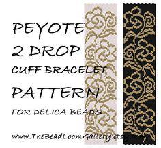 Peyote 2 Drop Cuff Bracelet Pattern Vol.29 - Hawaian Rose 2 - PDF File PATTERN