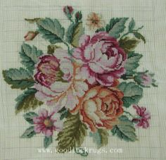 Roses Preworked Wool Needlepoint Canvas~Chair Cover/Frame/Pillow/Cushion