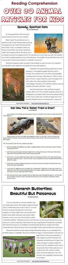 Download 80  printable animal articles, with reading comprehension questions