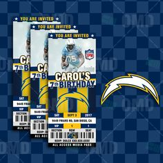 San Diego Chargers Ticket Style Sports Party Invitations #sportsinvites
