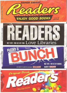 Candy bar bookmarks! Cute!