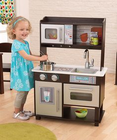 Look at this #zulilyfind! Espresso Toddler Kitchen #zulilyfinds