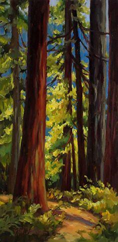 Towering Trees Sunlit Path by Erin Dertner Oil ~ 16 x 8