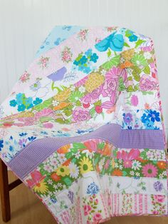 strip quilt- I like the way that it is quilted 1/2 in away from seam. Adds a neat contrast