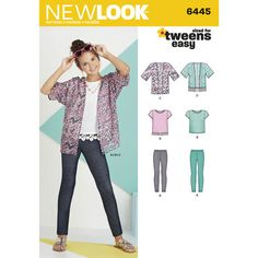 New Look Pattern 6445 Easy Girl's Kimono, Knit Top and Leggings, 4-H STEAM Level 1, year 2-3