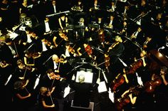 Stock Photo : Symphony orchestra performing, elevated view