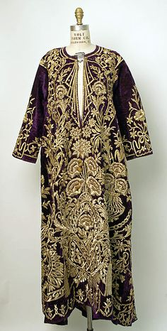 Robe Date: mid-19th century Culture: Turkish Medium: cotton, metallic thread Dimensions: Length at CB: 57 1/2 in. (146.1 cm)