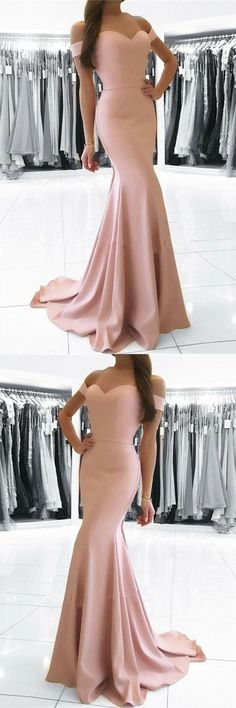 Simple blush pink party dress, off shoulder prom dress, mermaid long evening dress , New Style Evening Dress,2018 New Fashion