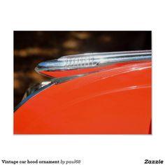 Vintage car hood ornament poster