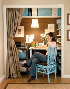 darker tone on the back wall of craft room/closet, white shelves and storage with the color of the chair. http://archive.blisstree.com/live/a-closet-turned-home-office-from-lowes/