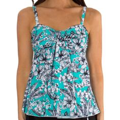 ~~pinned from site directly~~ . . . Mazu Swim Tropical Sketch Draped Bandeau Tankini Top
