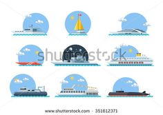 Stock Images similar to ID 261072314 - big set of sea ships. water...