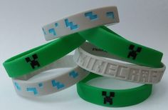 Set of 6 Green and Gray Minecraft Bracelets - These Silicone Wristbands are great Party Favors, Stocking Stuffers, Creeper Goody Bags, Gifts by LunasPartyBoutique on Etsy https://www.etsy.com/listing/486254301/set-of-6-green-and-gray-minecraft