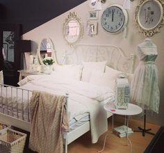 White ikea leirvik bed bedroom. Ikea Bedroom, Bedroom Inspo, Bedroom Decor, Leirvik Bed, Ikea Leirvik, Interior Exterior, Interior Design, Bedding Inspiration, Dreams Beds